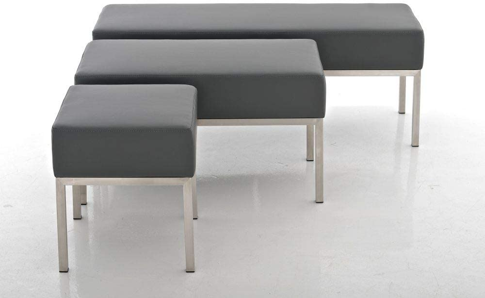 Farbe:Creme CLP 3er-Sitzbank Lamega Kunstleder I Moderne Sitzbank Mit Polsterung Und Edelstahlgestell I In Vielen Farben