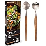 Danesco Stainless Steel & Acacia Wood Salad Servers Salad Tongs (Small Image)