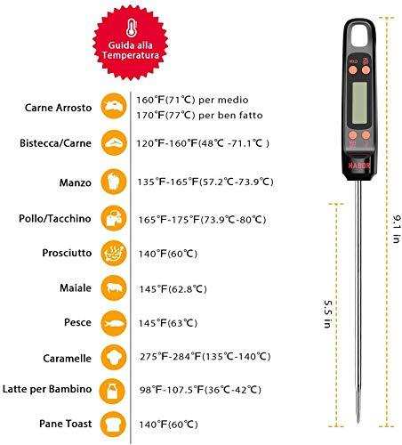 """Habor Termometro Cucina, 5S Lettura Istantanea, 5.5"""" Sonda Lunga, Termometro da Cucina Digitale per Carne Vino BBQ Latte Olio Alimenti Acqua del Bagno 2"""