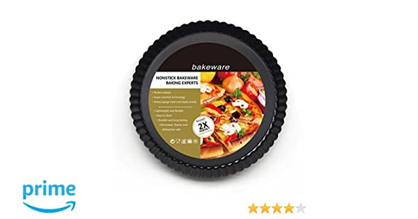 Amazon.com: OUNONA 9 inch Non-stick Pizza Pan Quiche Pan With Removable Bottom Removable Loose Bottom Quiche Pan Tart Pie Pan: Kitchen & Dining