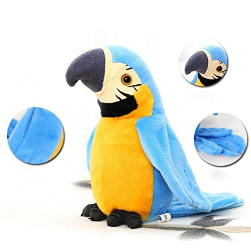 Records Cage - Gbell Kids Speaking Parrot Toys, Record Repeats Waving Wings Cute Stuffed Plush Parrot Toys For Children (Blue)