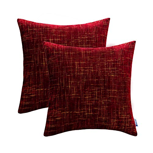 Decorative Throw Pillows Covers Sets Cushion Cases for Couch Sofa Bed Comfortable 20 x 20 Inch Wine Red Decor Pack of 2 ()
