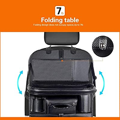 DRIVIM Car Backseat Organizer, Multifunctional Premium PU Leather Travel Car Organizer for Kids with Foldable Tray, iPad Phone Umbrella Bag, Tissue Box, 3 Mesh Bags, 1 Large Bag 4-USB Port (Black): Home Improvement