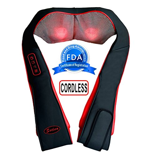 SOTION Cordless Shiatsu Neck and Back Massager with Heat, Shoulder and Foot Deep Kneading Massage Pillow with Heat for Car, Home and Office Use(Black)