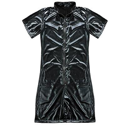 YiZYiF Sexy Men's Faux Leather Zip Bodysuit PVC Kinky Wetlook Clubwear Catsuit