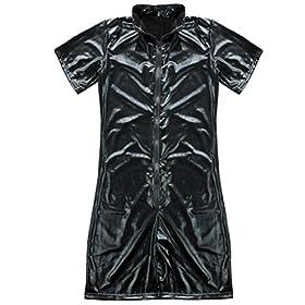 - 51GSli5NLRL - CHICTRY Men Gay Sexy Faux Leather Bodysuit Kinky Wet Look Clubwear Costume