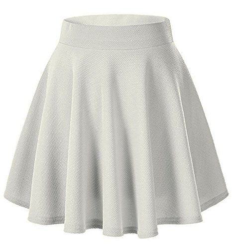 Moxeay Women's Basic A Line Pleated Circle Stretchy Flared Skater Skirt (Large, White)
