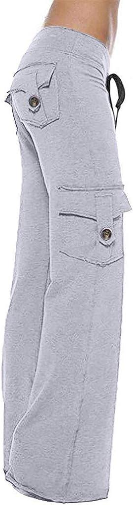 Dainzuy Womens Yoga Cargo Pocket Pant Wide Leg Comfy Drawstring Loose Straight Lounge Running Workout Legging