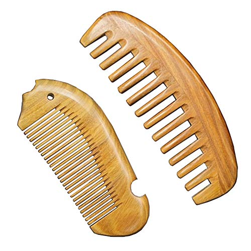 Sandalwood Hair Combs Set - Anti-Static Sandalwood Scent Natural Hair Detangler Wooden Comb (Wide Tooth & Fine Tooth Hair Combs)