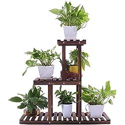 Ufine Wood Plant Stand Outdoor Indoor 3 Tier Vertical Carbonized Multiple Planter Holder Flower Ladder Stair Shelf Garden Balcony Patio Corner Pot Display Storage Rack (Space Saving,Light Weight)