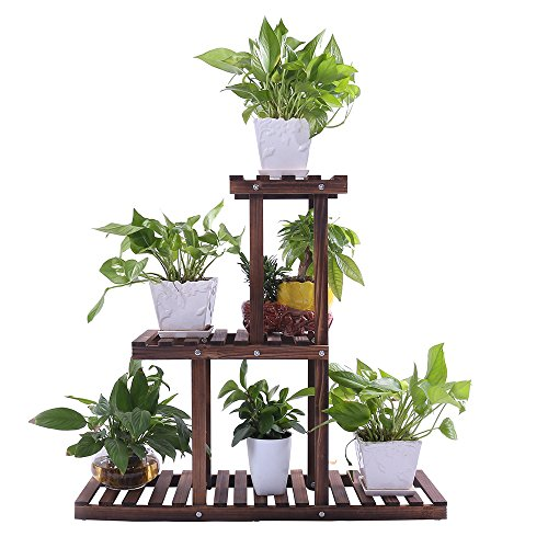Ufine Wood Plant Stand Outdoor Indoor 3 Tier Vertical Carbonized Multiple Planter Holder Flower Ladder Stair Shelf Garden Balcony Patio Corner Pot Display Storage Rack (Space Saving,Light Weight) by Ufine
