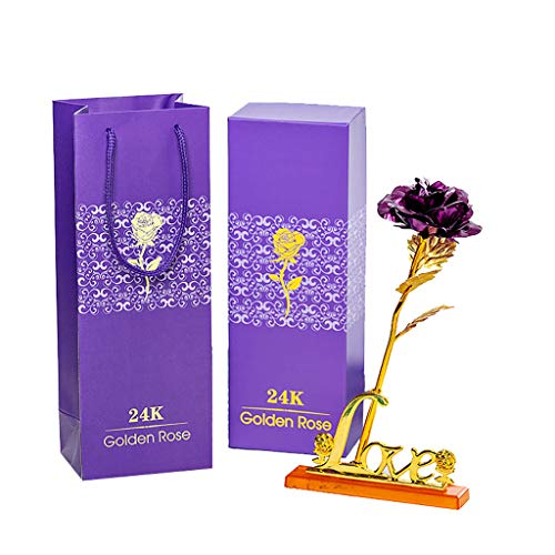 Gmgod_❤️Gold Foil Romantic Rose with Base with Packaging Gift Box Gift (Purple) ()