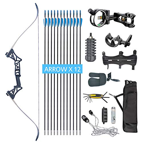 (XQMART XGeek Archery Takedown Recurve Bow Package R3 Ready To Shoot Archery Set For Bow (camouflage, Draw Length-40) (black2, Draw Weight :40) (BLACK, Draw Weight:45))
