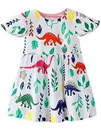 Toddler Girls Cotton Dress Stripe Short Sleeves Casual Summer Shirt 18M-7Y