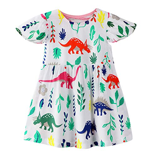 (BIBNice Kids Girls Spring Summer Dress Cotton Shirts Dinosuar Dresses Outfits Size 5)