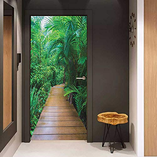Onefzc Door Wall Sticker Jungle Deck Timber Jetty Exotic Getaway Wilderness Footpath Tropic Plants Rainforest Mural Wallpaper W32 x H80 Pale Brown Green