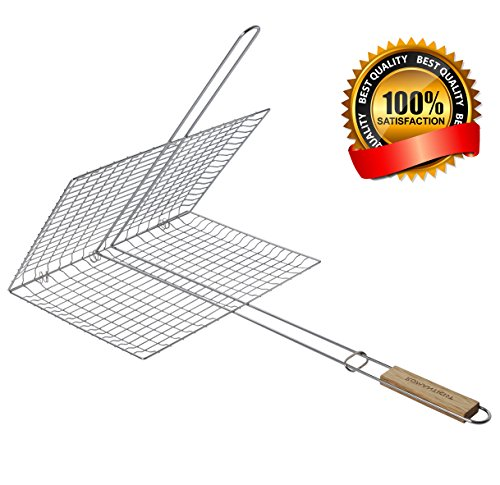 Extra Large Grilling Surface - Extra long Wood Handle - Stainless Steel BBQ Grilling Basket for Roast fish Vegetable Shrimp Fruit Meat Seafood - Best Barbecue Wok Topper Accessories Gift for Dad