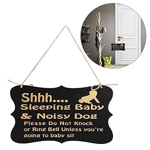 BinaryABC Baby Sleeping Sign,Baby Do Not Disturb Door Hanger Sign,Baby Room Decorative Wooden Plaques
