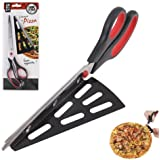 11 Inch Stainless Steel Pizza Scissors by ULee, Easily Getting Your Hot Pizza off from the Tray, A Replacement of Your Regular Pizza Cutter (Black-Red)