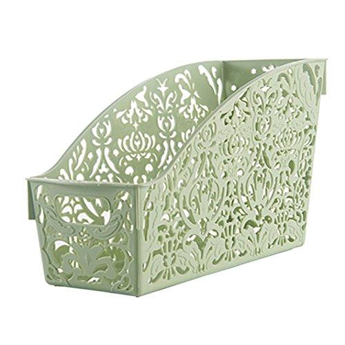 YJYDADA Plastic Storage Basket Desktop Bathroom Family Sundries Pen Pencil Storage (Green)