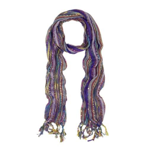Trendy Multi Color Glitter Fashion Scarf, v5 (ppl) - Glitter Scarf