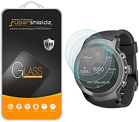 [3-Pack] Supershieldz for LG Watch Sport Tempered Glass Screen Protector, Anti-Scratch, Anti-Fingerprint, Bubble Free, Lifetime Replacement (Lg Sport Watch)