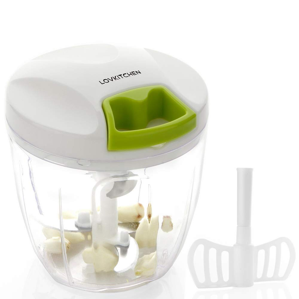 Manual Food Chopper-LOVKITCHEN Compact and Powerful Hand Held Vegetable Chopper/Mincer/Blender to Chop Fruits/Vegetables/Nuts/Herbs/Onions/Garlics for Salsa,Salad,Pesto,Coleslaw,Puree (L)