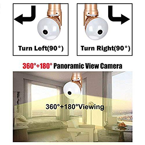 6w monitor Concealed golden color wifi control led bulb light cctv with camera, 360 degree adjustable angle and length, spot hot control, talk to each, app controled by mobile or computer(golden, 1pc)
