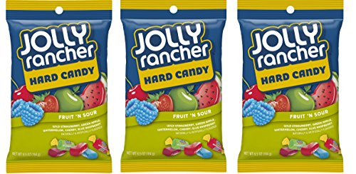 Jolly Rancher Hard Candy Fruit 'N' Sour Flavor Peg Bag, 6.5 oz, 3 pk (Sour Hard Candy)