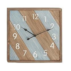 Deco 79 44452 Brown Iron and Wood Wall Clock, 24 x 24, Brown/Cyan/White/Black