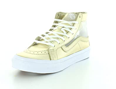 cc694cc57c6309 Vans Unisex Mesh Metallic SK8-Hi Slim Cutout Wheat Gold True White Sneaker -
