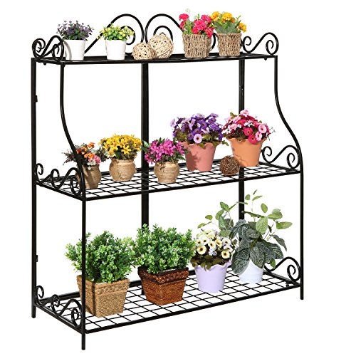 Freestanding Metal Scrollwork Design 3 Tier Plant Stand, Home Storage Organizer Shelf Rack, ()