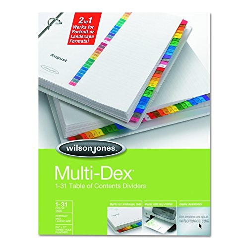 Wilson Jones MultiDex Index Dividers, Numbered 1-31, 31 Tabs per Set, Letter Size, Multi-Color (W90103B) (Cover Format Report Letter)