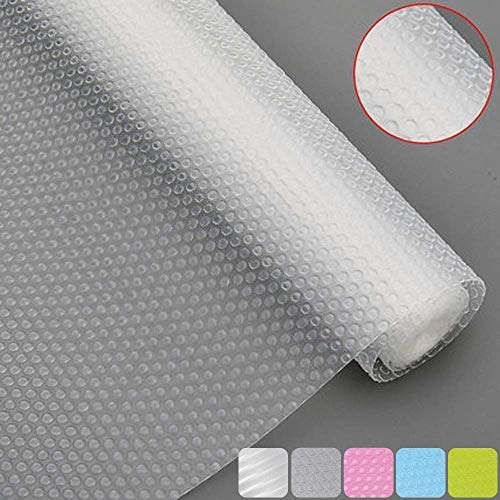Best Bloss Plastic Shelf Liners Cabinet Drawer Liner Non-Slip Shelf Liner Non-Adhesive Refrigerator Mat Cupboard Pad No Odor for Kitchen Home-Clear 17.7 ×59 Inch
