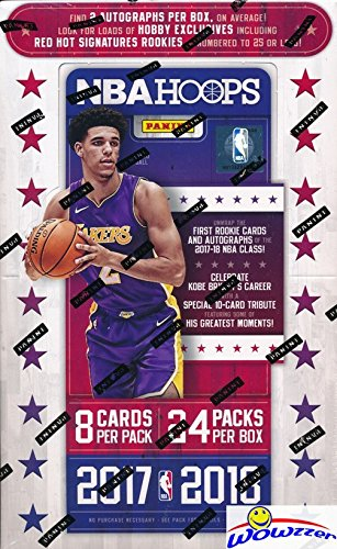 2017/18 Panini Hoops NBA Basketball ENOURMOUS Factory Sealed HOBBY Box with TWO AUTOGRAPHS & 192 Cards! Look for Rookies & Autographs of Lonzo Ball, Markell Fultz, Jayson Tatum & Many (Nba Hobby Box)