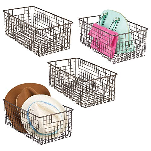 mDesign Household Wire Storage Organizer Bin Basket with Built-In Handles for Kitchen Cabinets, Pantry, Closets, Bedrooms, Bathrooms - 16 x 9 x 6 in. - 4 Pack - - Fridge Mini Bronze
