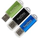 SunData 3 Pack 16GB USB 2.0 Flash Drive Thumb Drives Memory Stick, 3 Colors: Black Blue Green