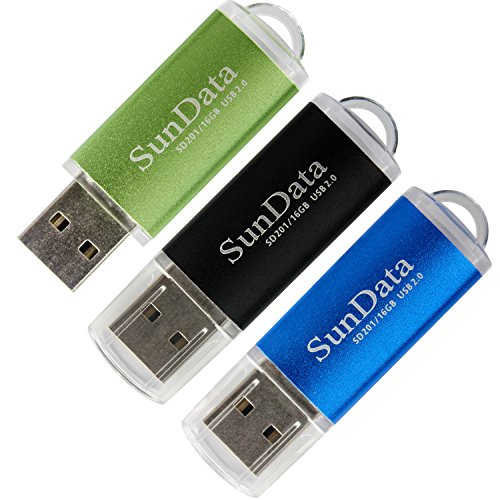 SunData 3 Pack 16GB USB 2.0 Flash Drive Thumb Drives Memory Stick, 3 Colors: Black Blue Green