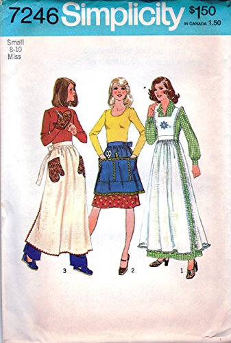 - Simplicity 7246 Sewing Pattern for Pinafore, or Aprons in 3-lengths & Oven Mitt Vintage 1975