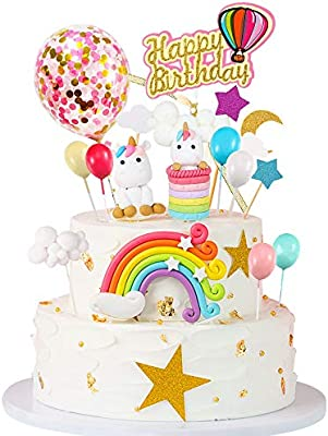 Admirable Mmtx 15Pcs Unicorn Cake Topper Birthday Cake Decorations For Girl Funny Birthday Cards Online Alyptdamsfinfo