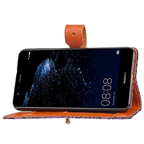 Funda Huawei P10 lite,SainCat Funda de cuero sintético tipo billetera con de Suave PU Carcasa Con Tapa y Cartera, Correa de mano, Soporte Plegable, Ranuras para Tarjetas y Europeo Fresco Patrón Funda  Púrpura