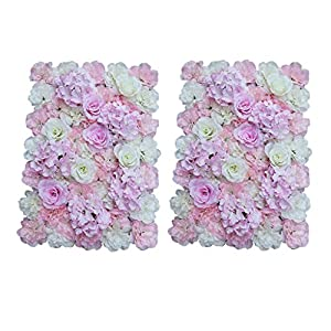 Baoblaze 2Pieces Artificial Flower Wall Panel Wedding Venue Home Shop Window DIY Decoration Pink White 9