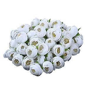 Sundlight Silk Cloth Camellia Bud Flower Head Handmade Artificial Flowers for Wedding Party Home Decoration 21