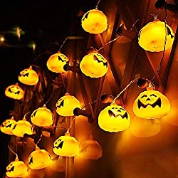 Antallcky Halloween Decoration Pumpkin Fairy String Lights 7.5ft 16 LED String Lights Battery Operated for Holiday,Party,Wedding Indoor Decor-Warm White Lights