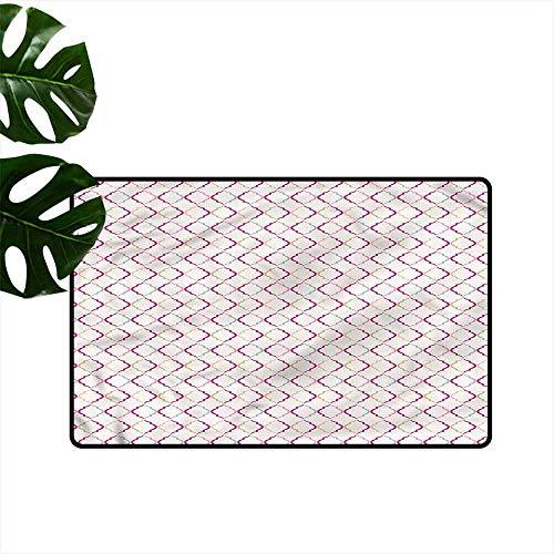 DONEECKL Bedroom Doormat Trellis Victorian Ancient Oval Machine wash/Non-Slip W31 xL47 ()