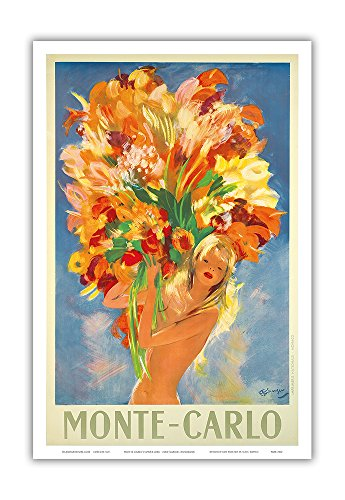 Pacifica Island Art Monte-Carlo, Monaco - French Riviera - Nude Flower Girl - Vintage World Travel Poster by Jean-Gabriel Domergue c.1940s - Master Art Print - 12in x 18in