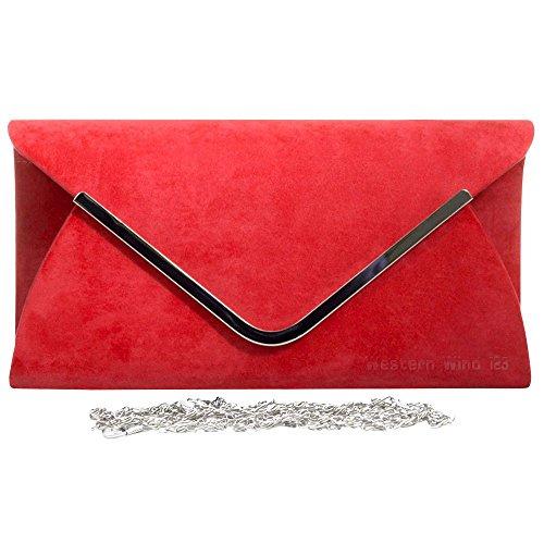 Silver Prom Red Wocharm Velvet Envelope Bag Suede Clutch Shoulder Wedding Ladies Trim Bag Purse Womens Handbag Lavish Party xH0HqpAZn