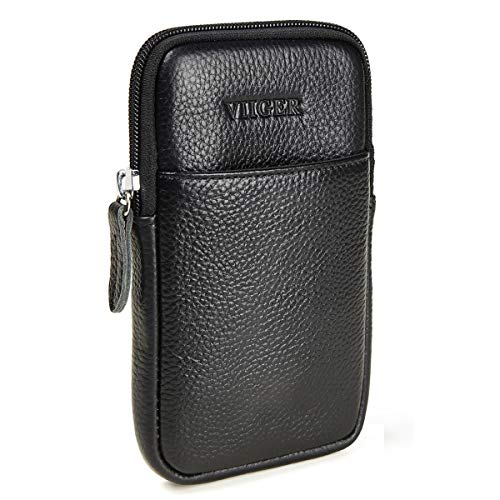 VIIGER Vertical Premium Leather iPhone Xs Max Holster Belt Pouches for Men Cell Phone Belt Holster Belt Clip Case Pouch Holder with Belt Loop Compatible for iPhone Xs Max/6s Plus/6 Plus/7 Plus/8 Plus
