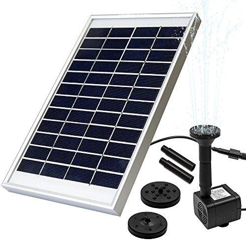 LUXJET 5W Solar Fountain Pump Garden Water Pump for Pond Birdbath, Maximum Flow 380L/H