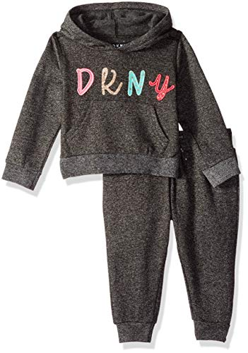 DKNY Baby Girls Blush Jog Set, Dark Grey Heather, 24M